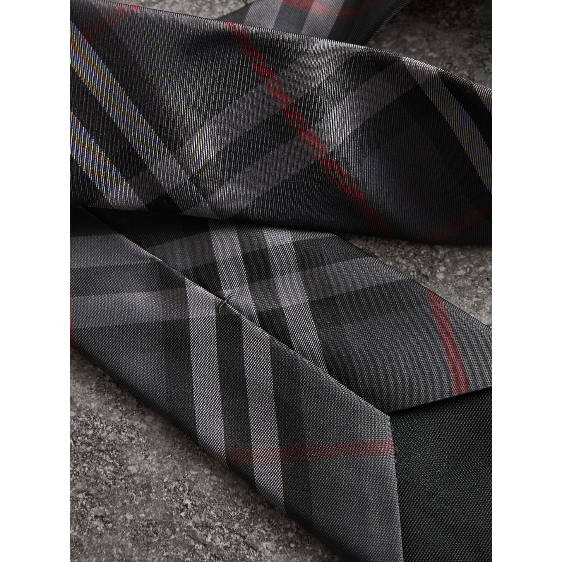 Modern Cut Vintage Check Silk Tie in Dark Charcoal - Men | Burberry Australia - gallery image 1