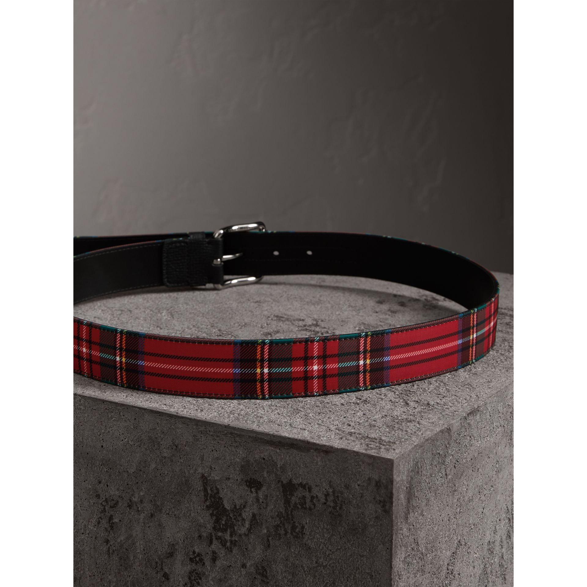 Tartan and Leather Belt in Military Red - Men | Burberry - gallery image 3