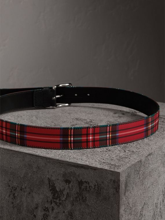 Tartan and Leather Belt in Military Red - Men | Burberry - cell image 3