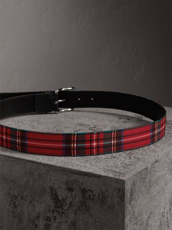 Cinturón en tejido a cuadros escoceses y piel (Rojo Militar) - Hombre | Burberry - cell image 3