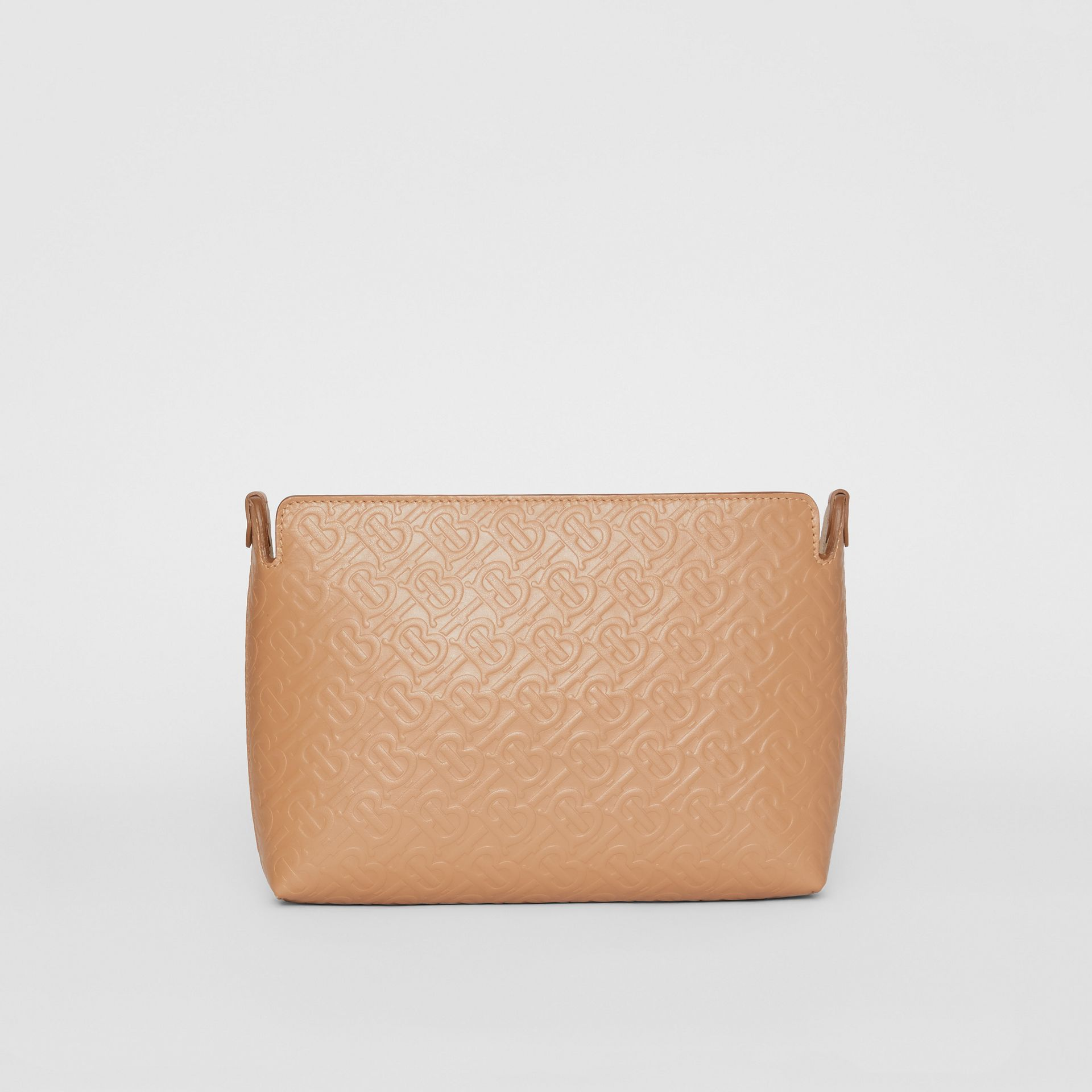 Medium Monogram Leather Clutch in Light Camel - Women | Burberry United States - gallery image 0