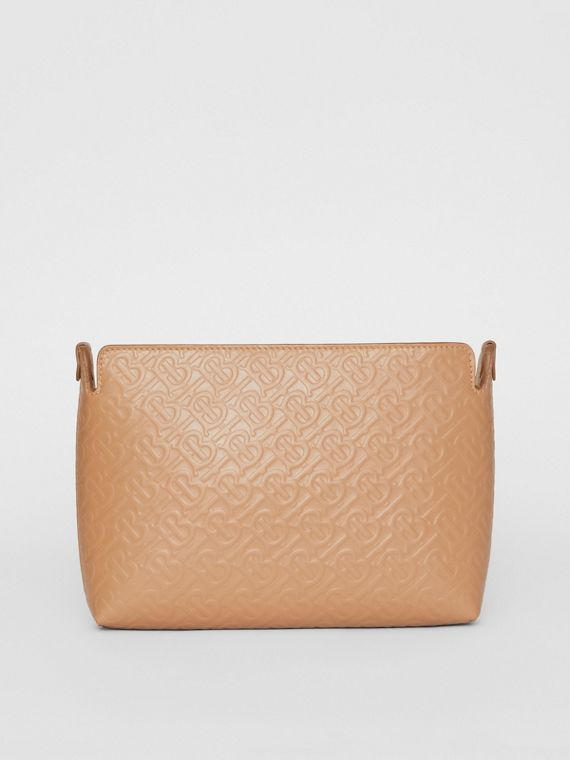 Medium Monogram Leather Clutch in Light Camel