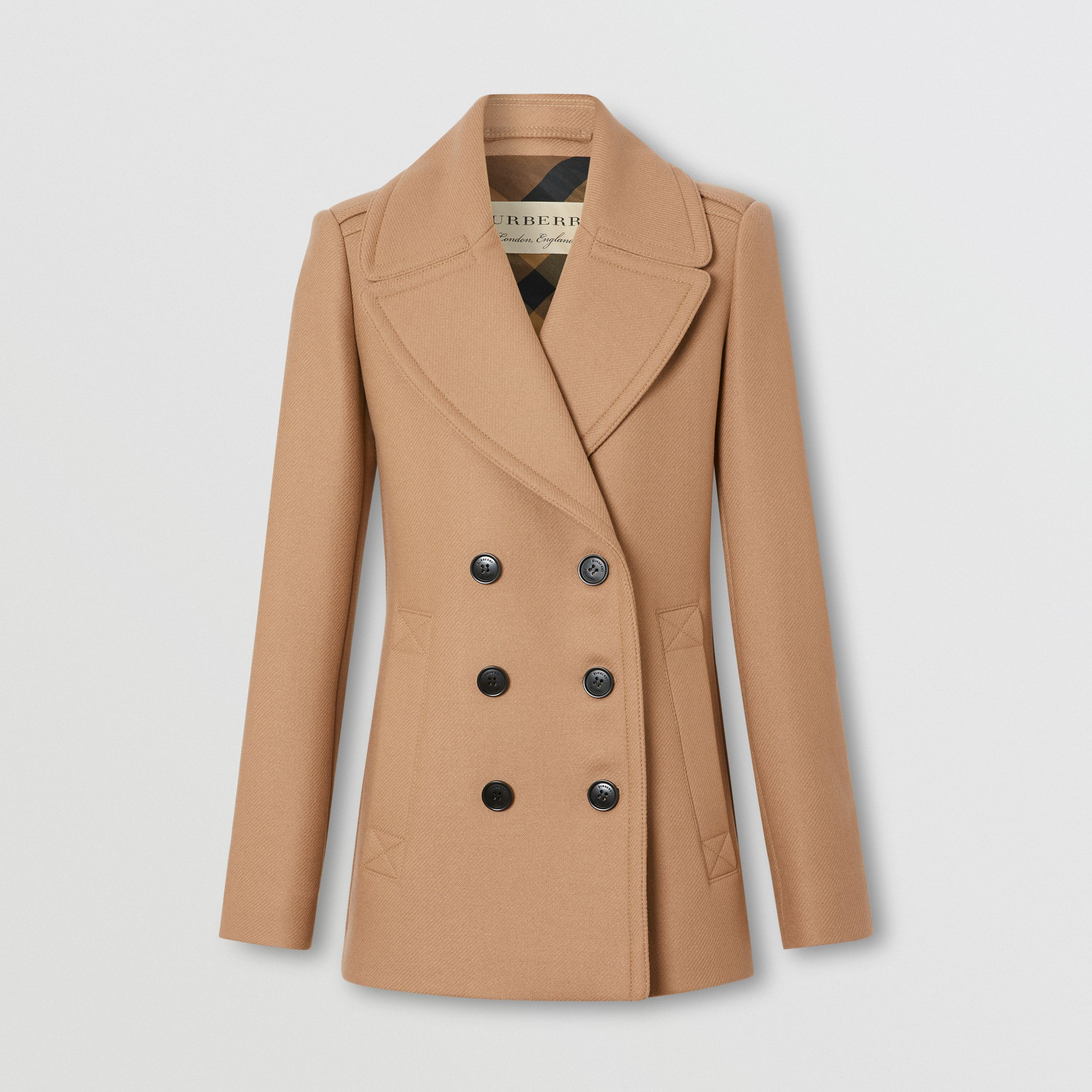 Wool Cashmere Blend Pea Coat in Camel - Women | Burberry - 1