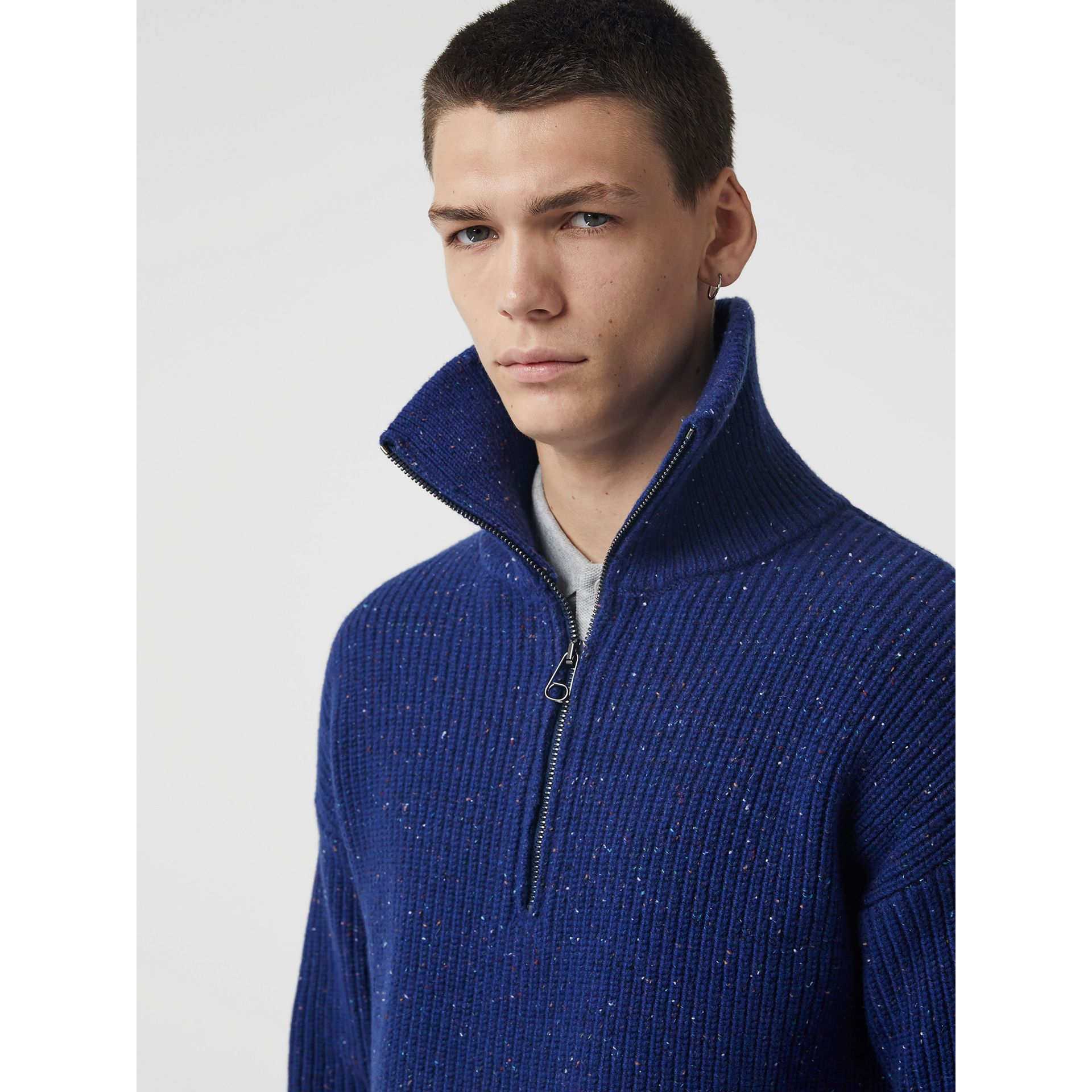 Rib Knit Wool Cashmere Blend Half-zip Sweater in Navy - Men | Burberry United Kingdom - gallery image 4
