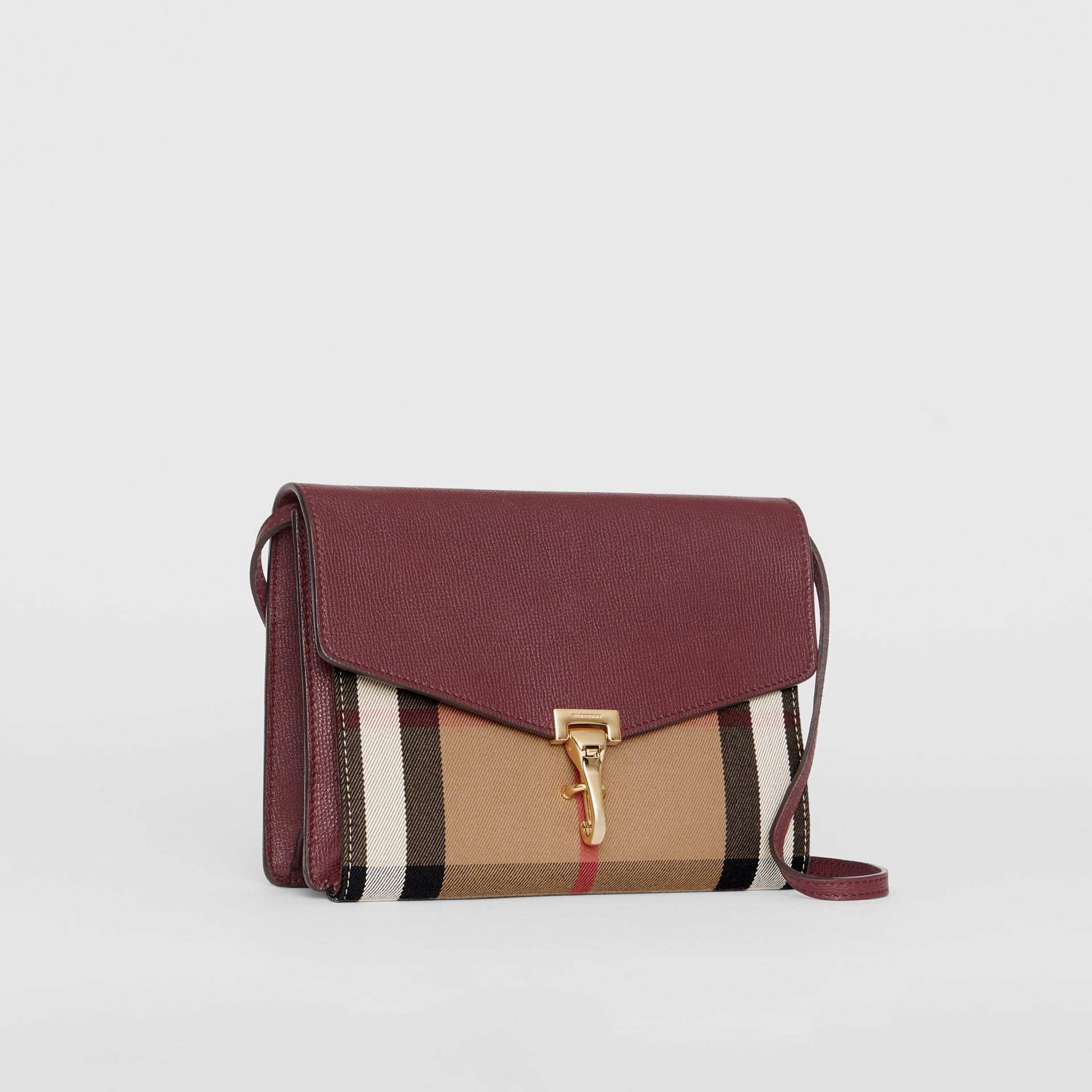 Small Leather and House Check Crossbody Bag in Mahogany Red - Women | Burberry - gallery image 6