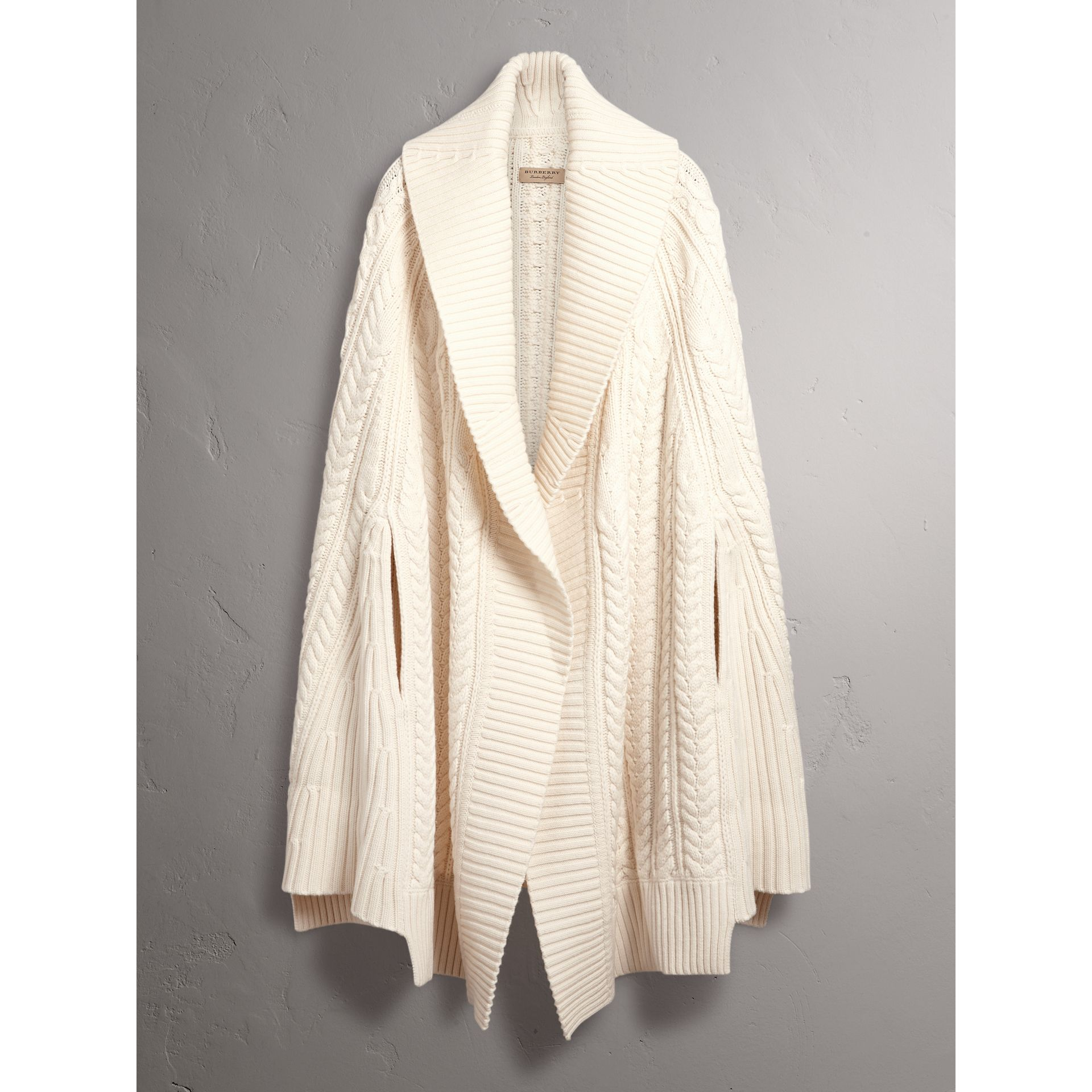 Cable Knit Wool Cashmere Poncho in Natural White - Women | Burberry - gallery image 3