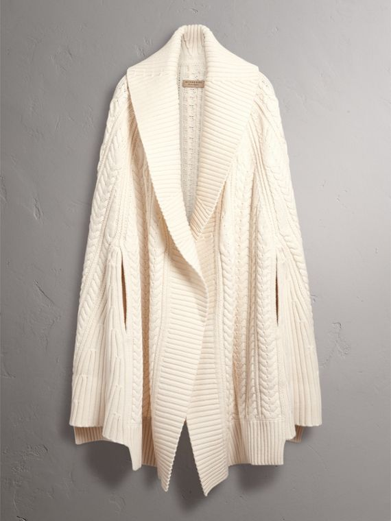 Cable Knit Wool Cashmere Poncho in Natural White - Women | Burberry - cell image 3