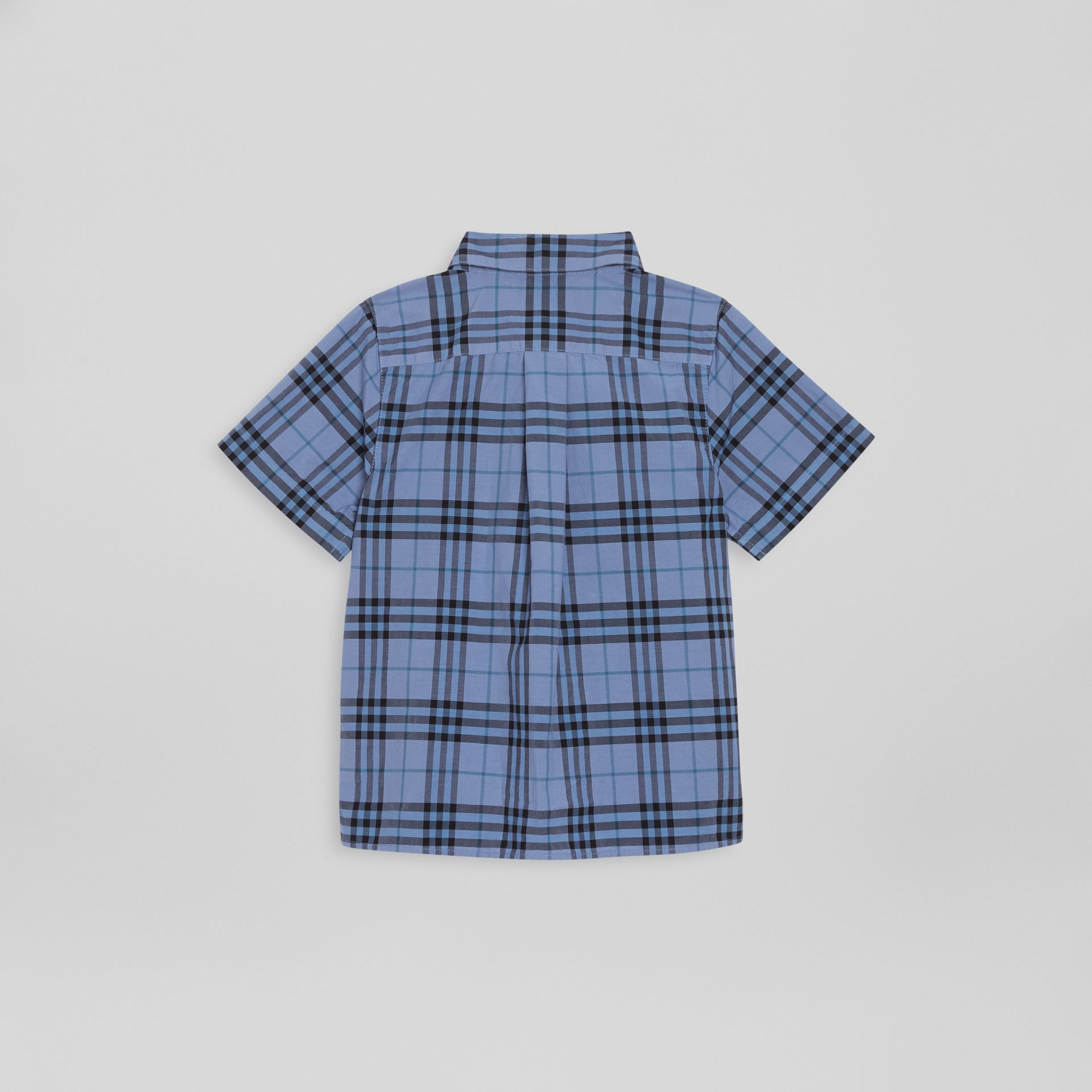 Short-sleeve Check Cotton Shirt in Dusty Blue | Burberry Singapore - gallery image 3