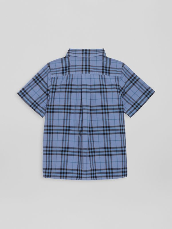 Short-sleeve Check Cotton Shirt in Dusty Blue | Burberry - cell image 3