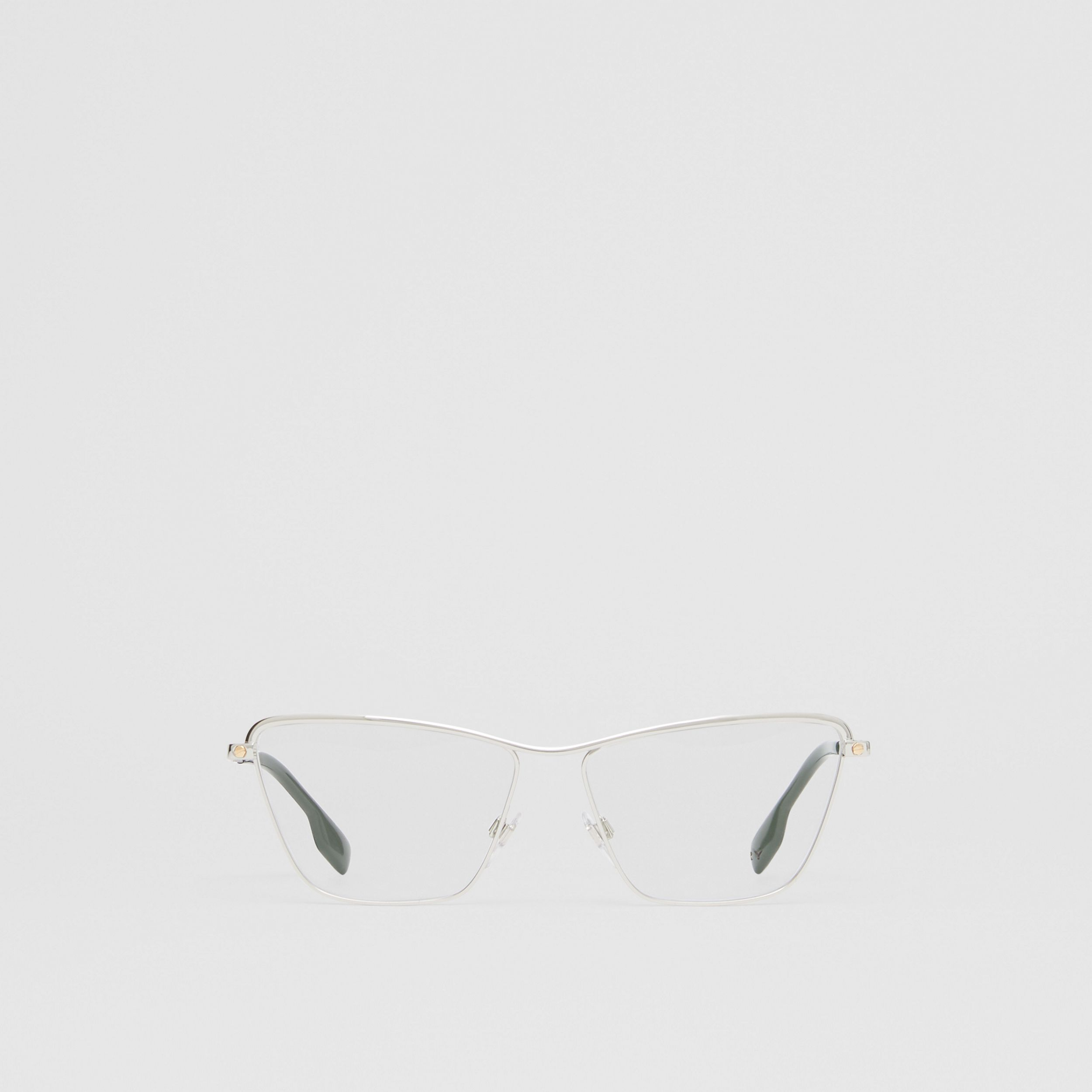 Rectangular Optical Frames in Silver - Women | Burberry Canada - 1