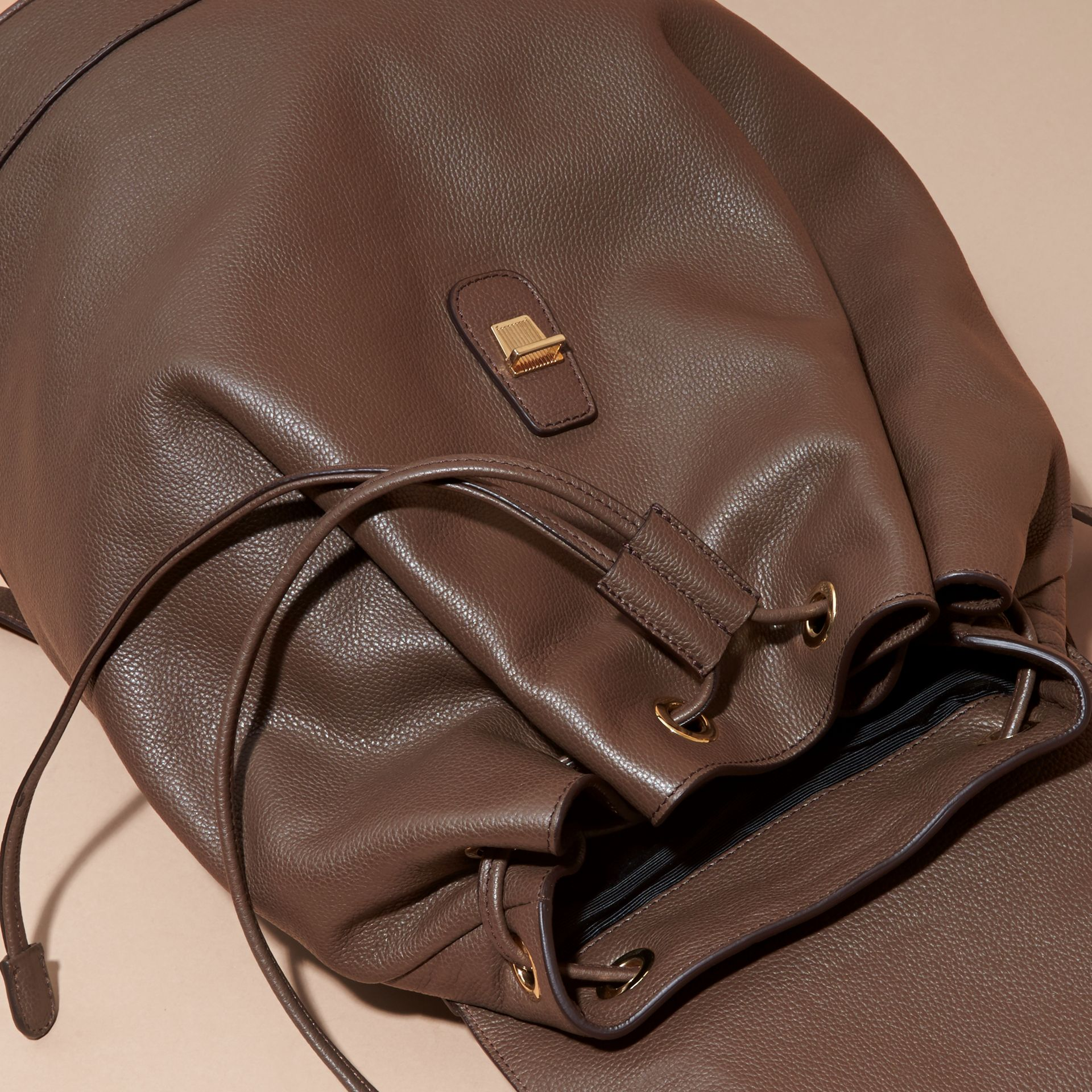 Deep taupe brown Grainy Leather Backpack Deep Taupe Brown - gallery image 2