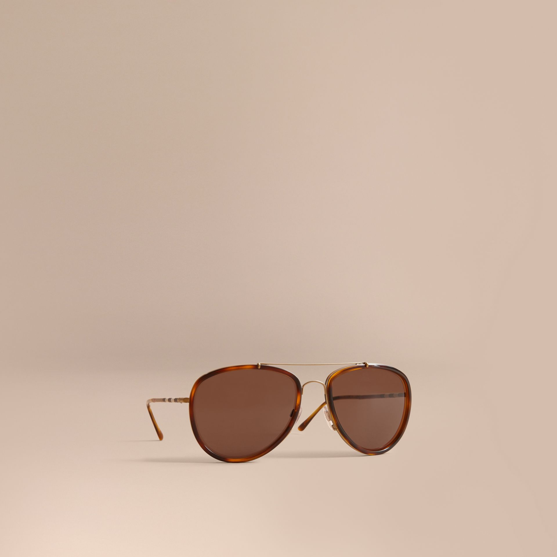 Check Detail Pilot Sunglasses in Tortoise Shell - Men | Burberry - gallery image 1