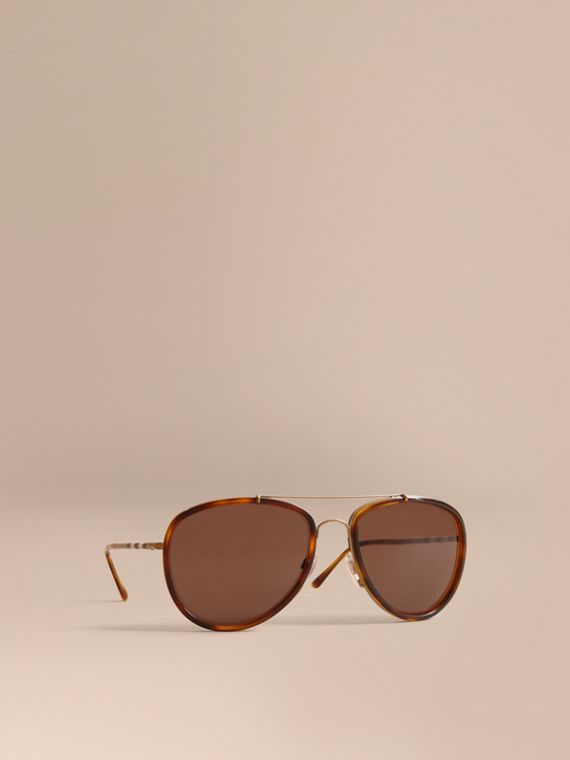 Check Detail Pilot Sunglasses in Tortoise Shell - Men | Burberry Hong Kong
