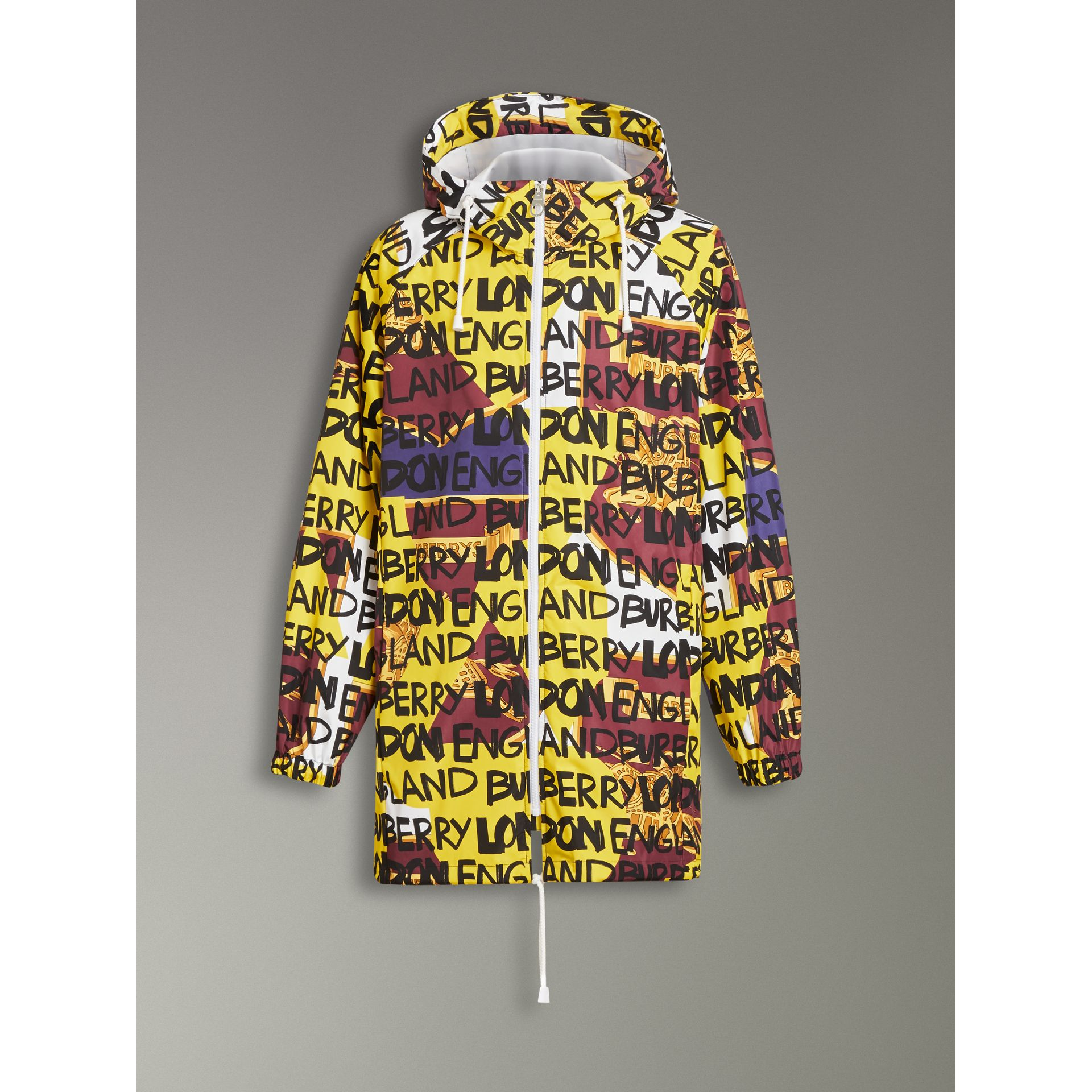 Graffiti Archive Scarf Print Hooded Jacket in Bright Yellow - Men | Burberry Australia - gallery image 3