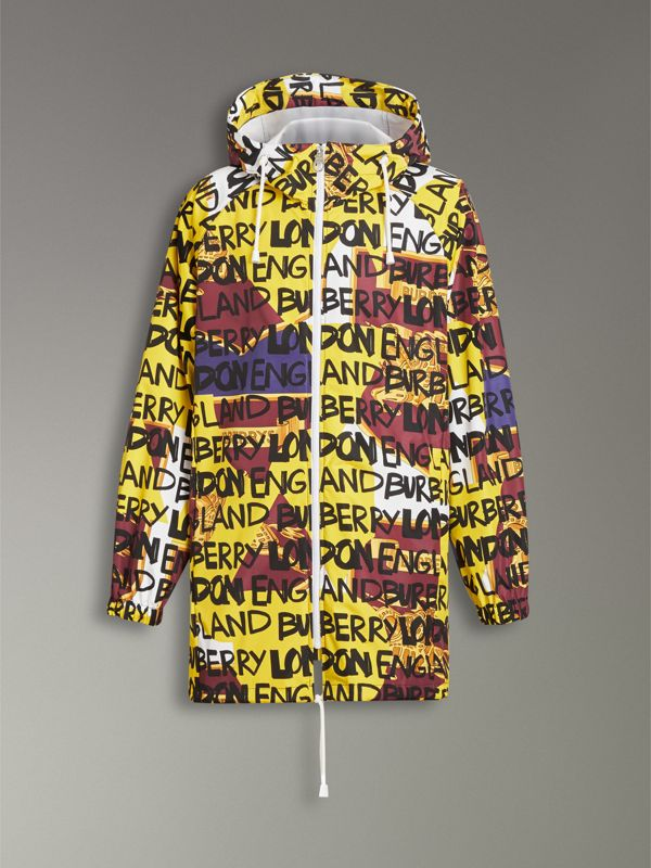 Graffiti Archive Scarf Print Hooded Jacket in Bright Yellow - Men | Burberry Australia - cell image 3