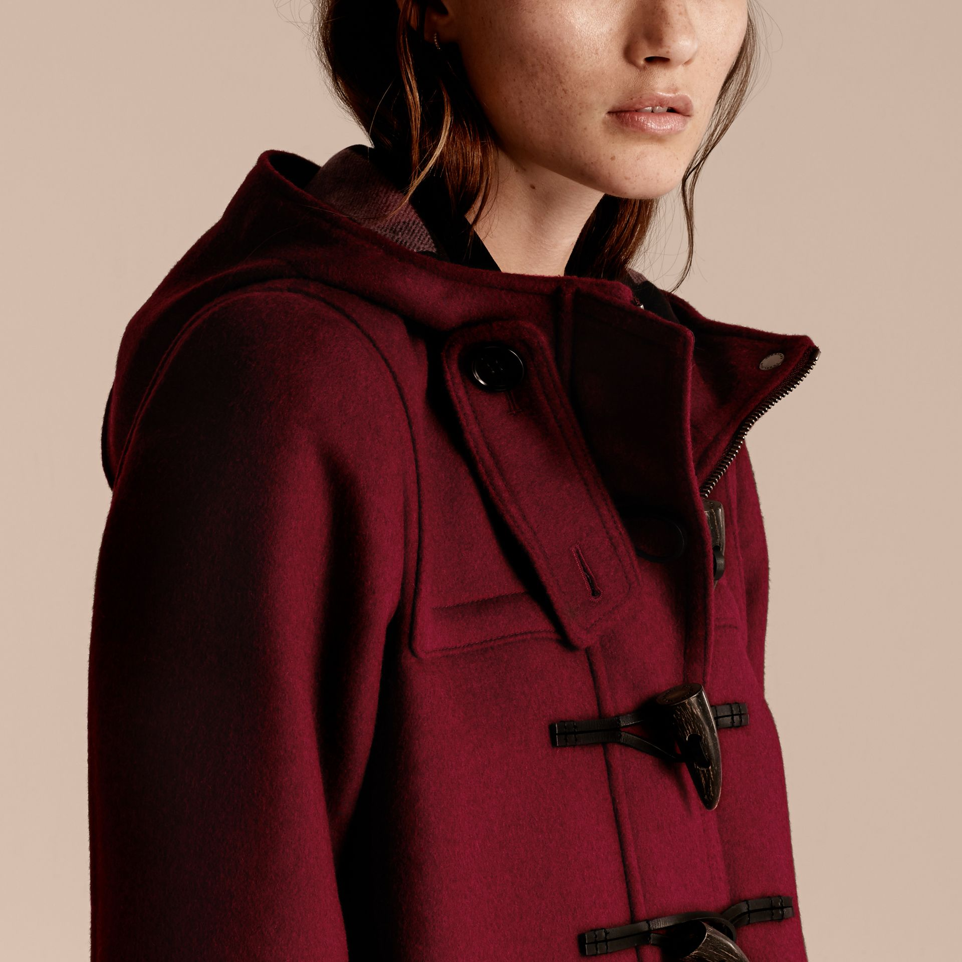 Dark plum Wool Duffle Coat - gallery image 5