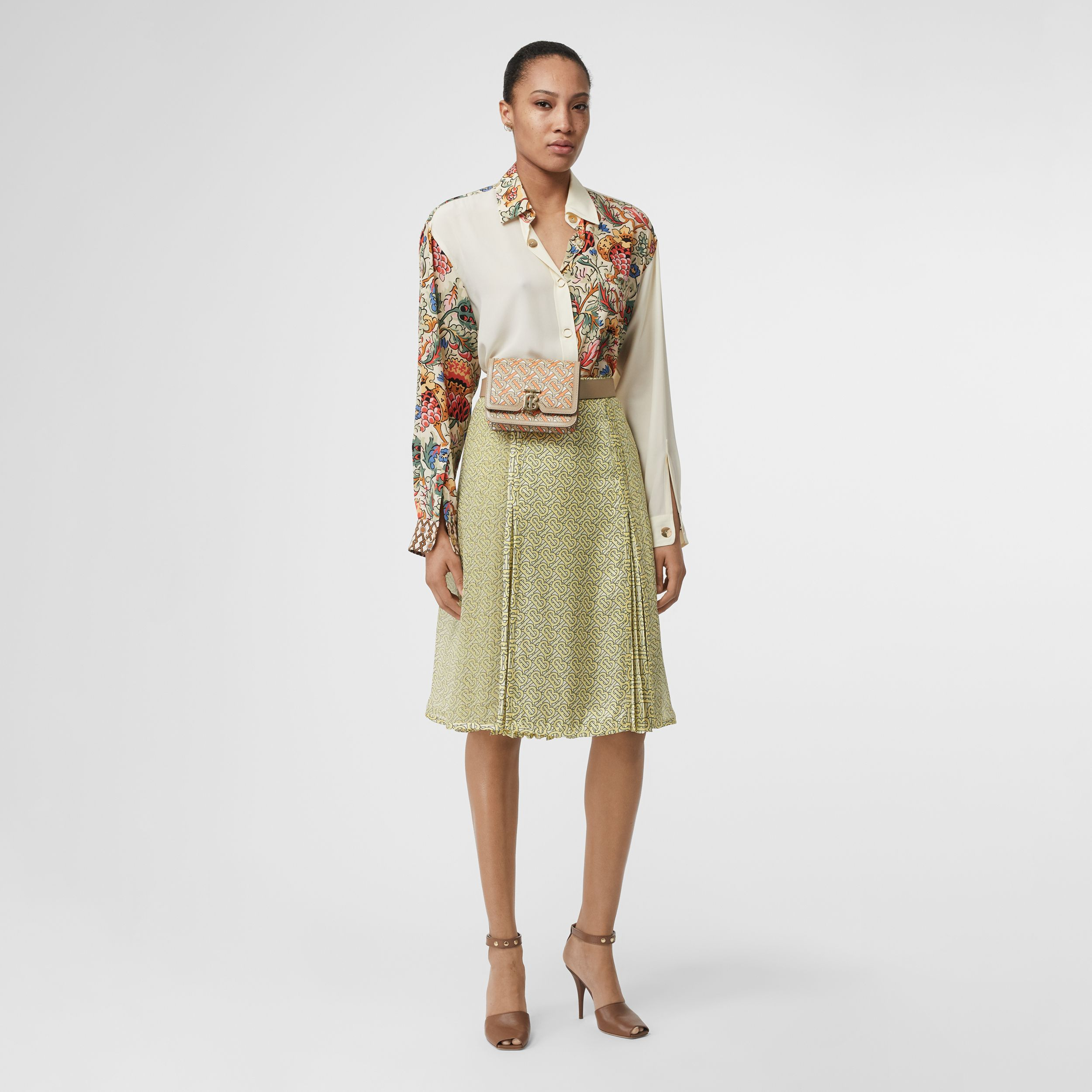 Monogram Print Silk Pleated Skirt in Pale Yellow | Burberry - 1