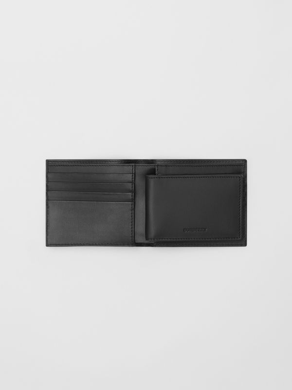 Logo Print Leather Bifold Wallet with ID Card Case in Black | Burberry - cell image 2