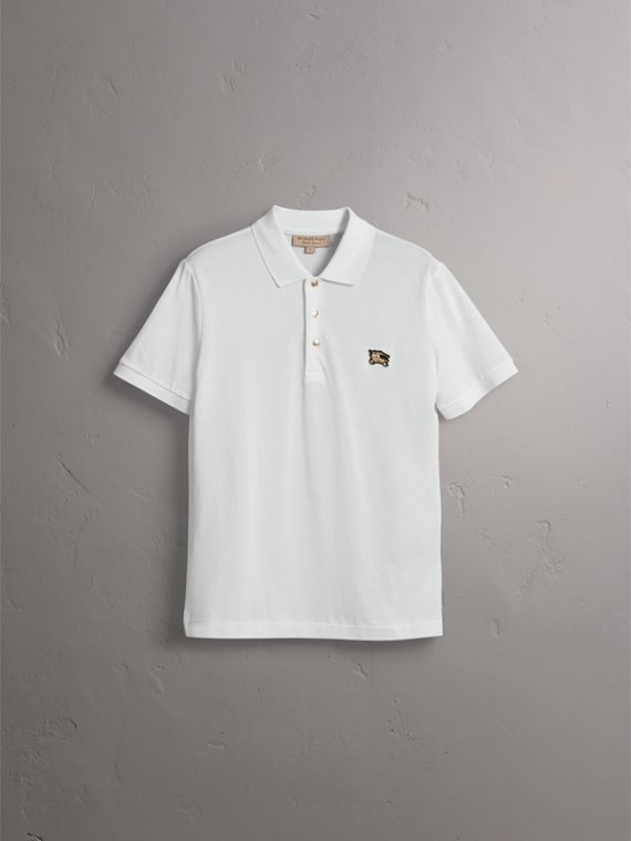 Cotton Piqué Polo Shirt in White - Men | Burberry Australia - cell image 3
