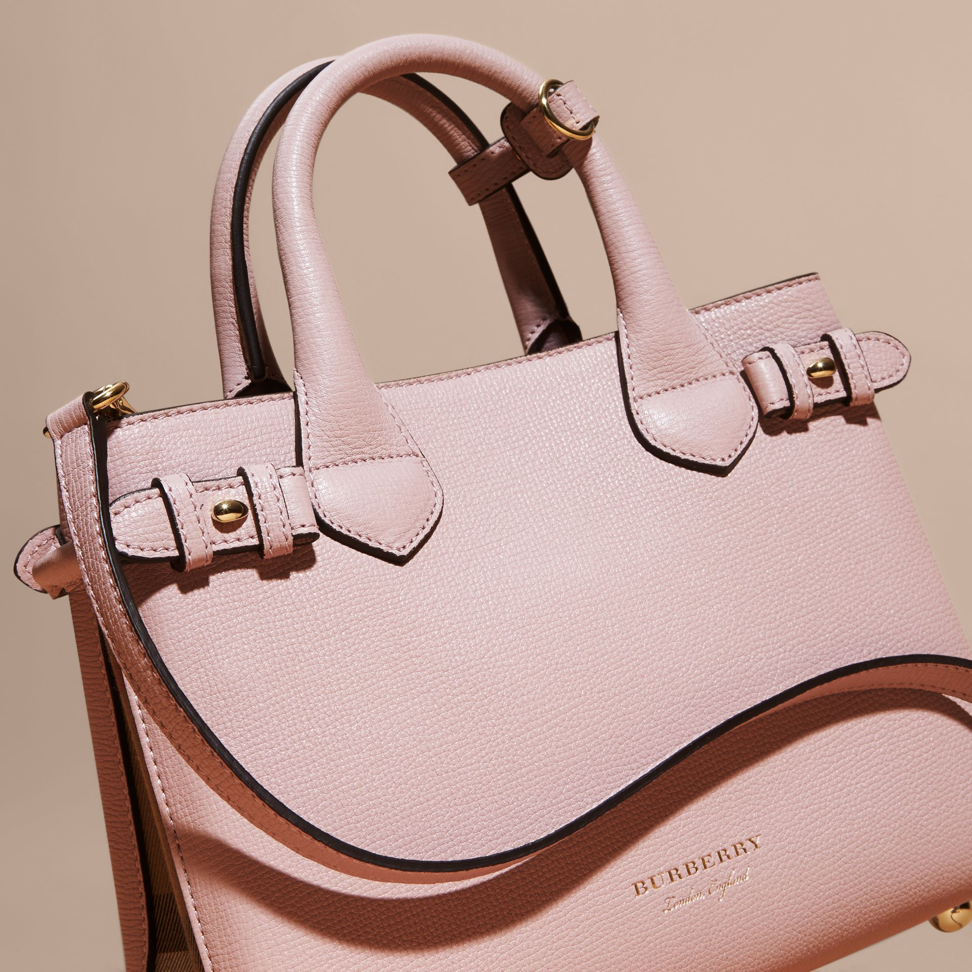 The Small Banner in Leather and House Check in Pale Orchid - Women | Burberry - gallery image 6