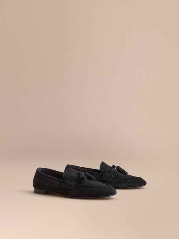 Tasselled Suede Loafers in Black