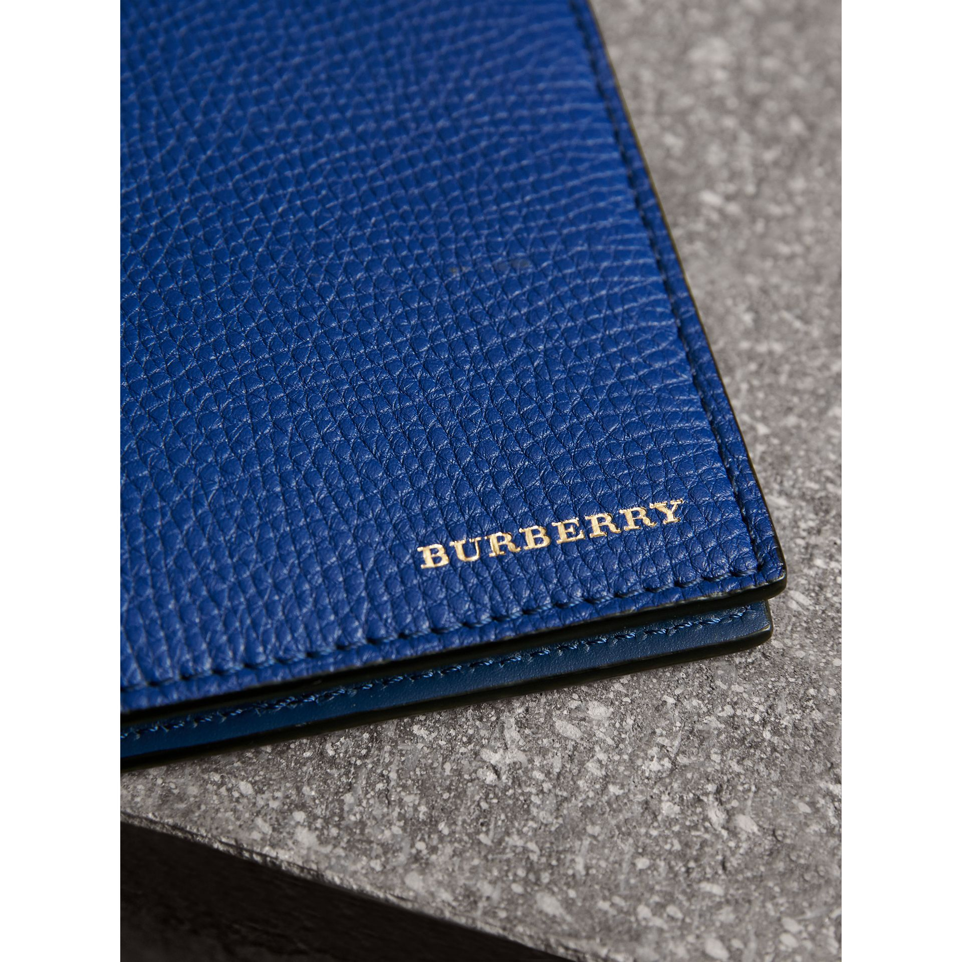 Leather and House Check International Bifold Wallet in Deep Blue | Burberry United Kingdom - gallery image 1