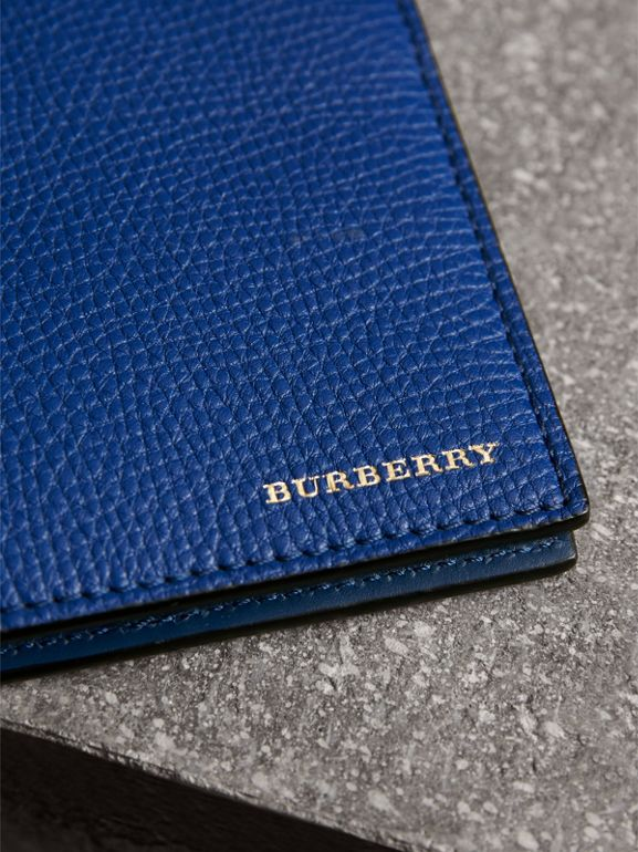Leather and House Check International Bifold Wallet in Deep Blue | Burberry United Kingdom - cell image 1