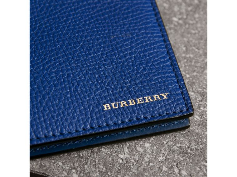 Leather and House Check International Bifold Wallet in Deep Blue - Men | Burberry United Kingdom - cell image 1