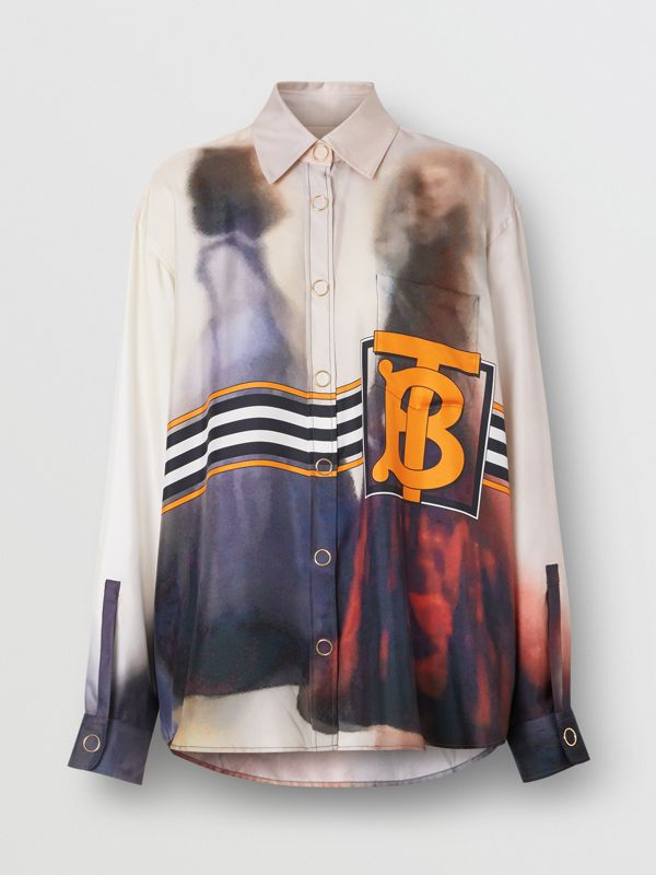 Victorian Photograph Print Silk Shirt in Purple - Women | Burberry United Kingdom - cell image 3
