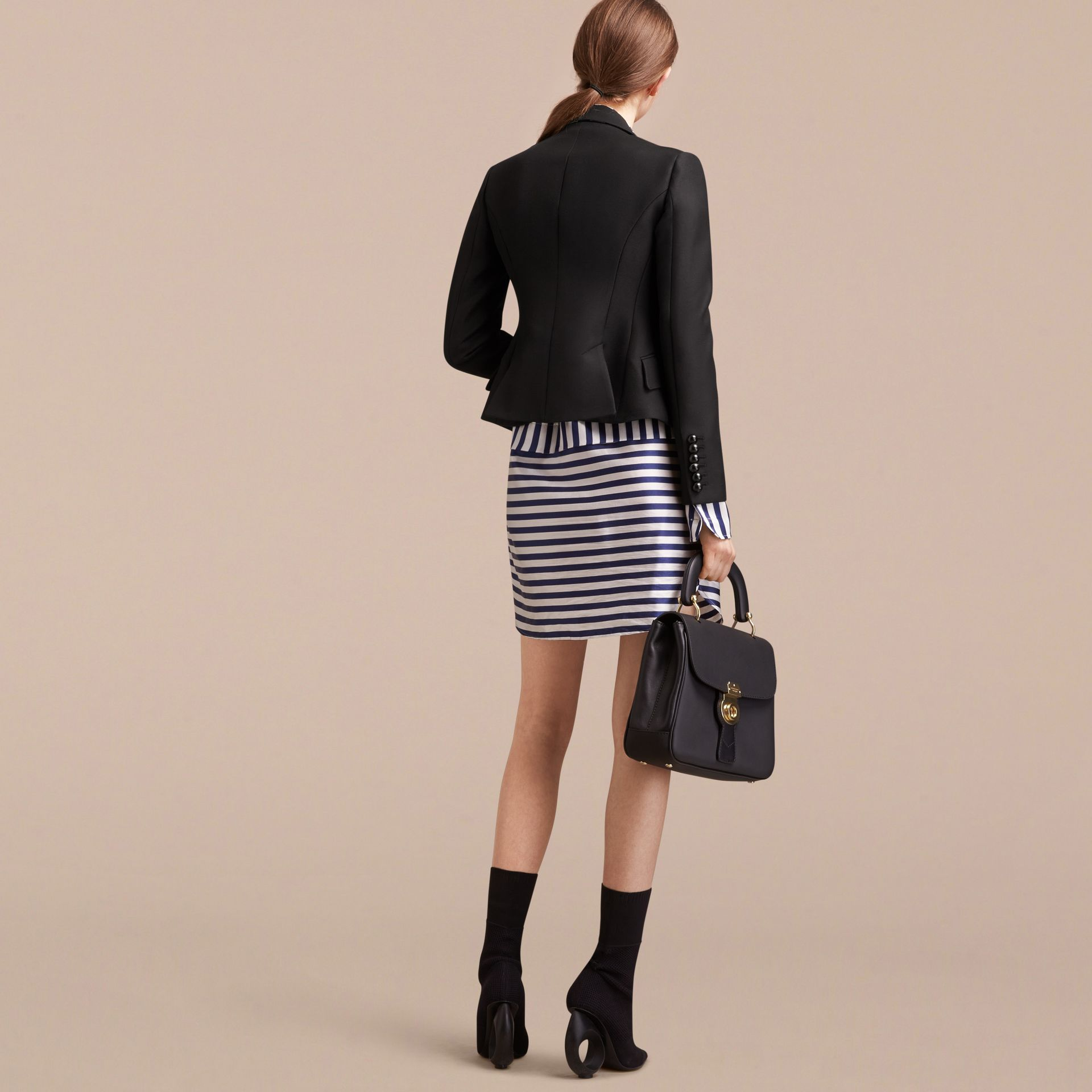 Wool Cotton Blend Twill Tailored Jacket in Black - Women | Burberry Singapore - gallery image 3