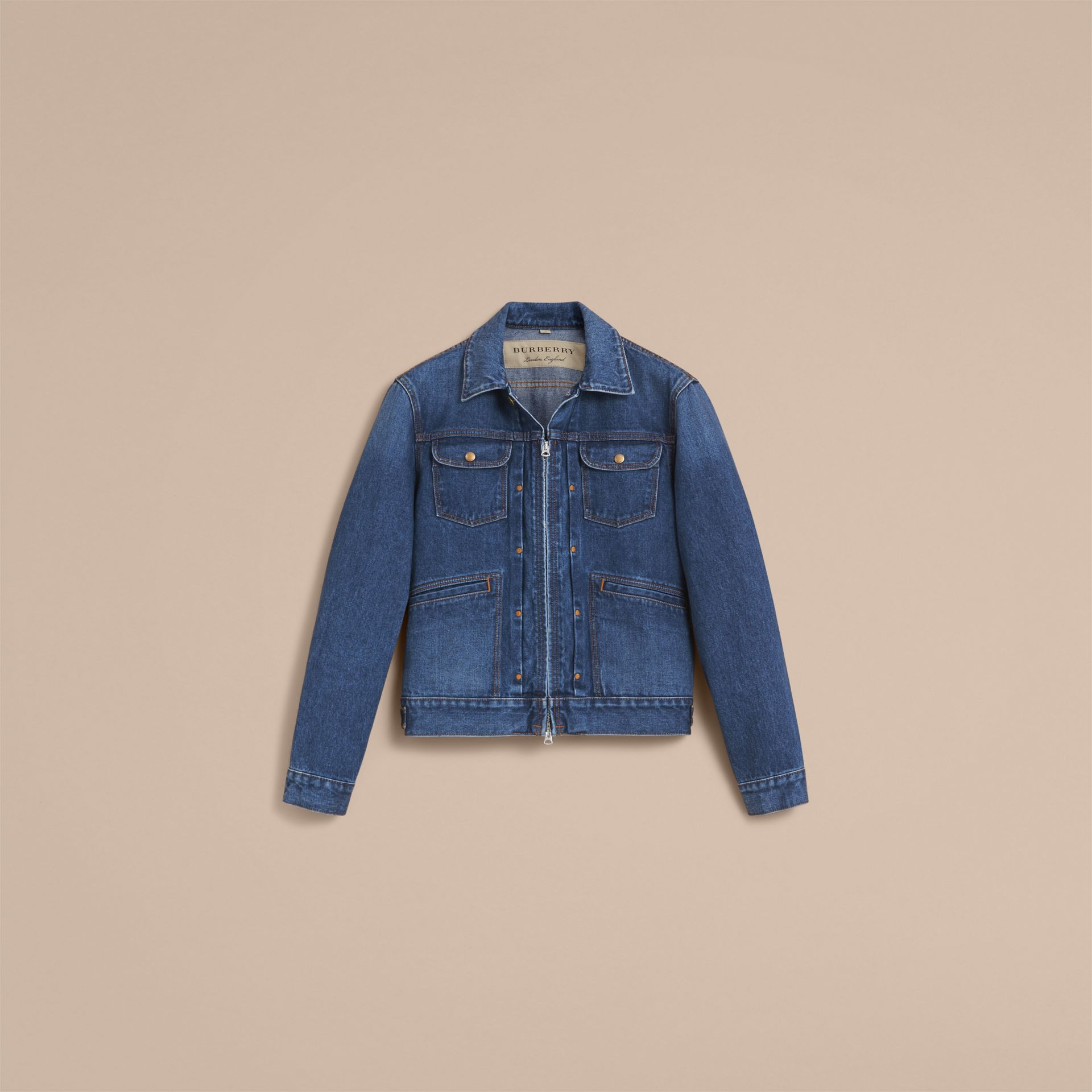 Zip-front Cropped Denim Jacket - gallery image 4