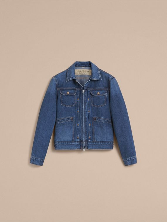 Zip-front Cropped Denim Jacket - Men | Burberry - cell image 3