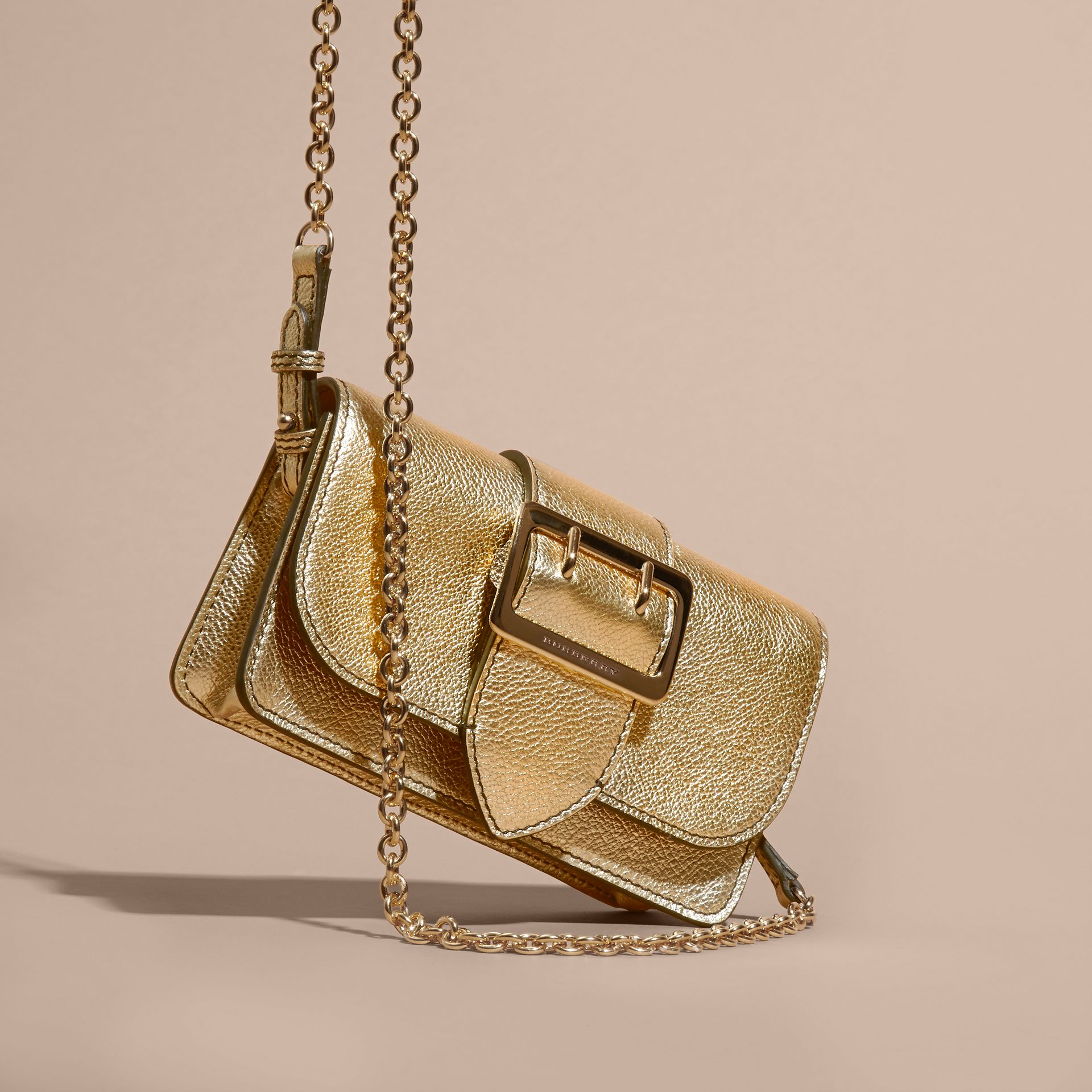 Gold The Mini Buckle Bag in Metallic Grainy Leather Gold - gallery image 8