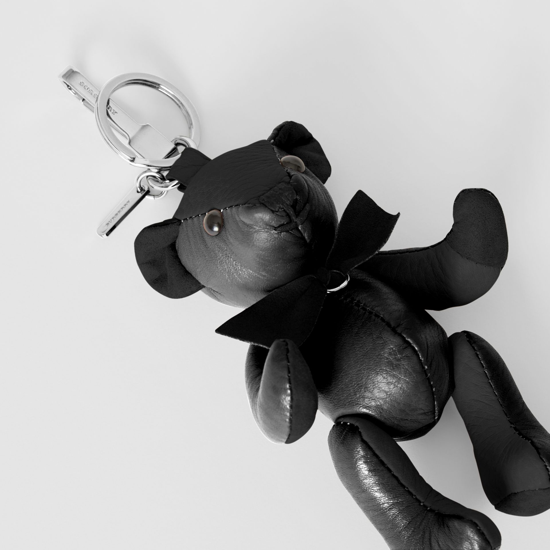 Thomas Bear Charm in Leather in Black | Burberry United Kingdom - gallery image 1