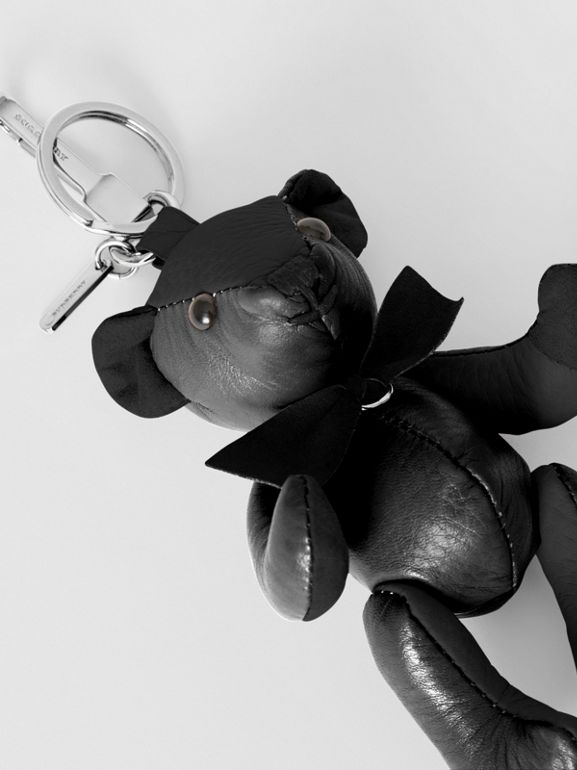 Thomas Bear Charm in Leather in Black | Burberry United Kingdom - cell image 1