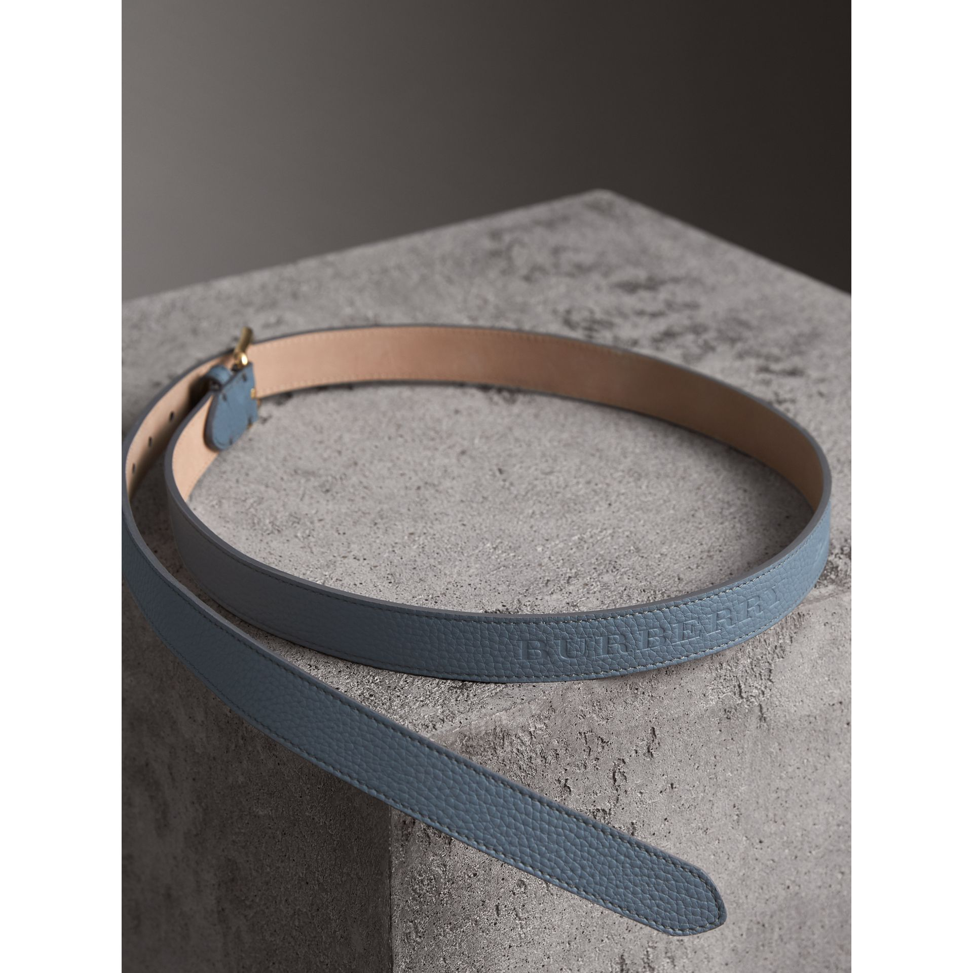 Embossed Leather Belt in Dusty Teal Blue - Women | Burberry - gallery image 3