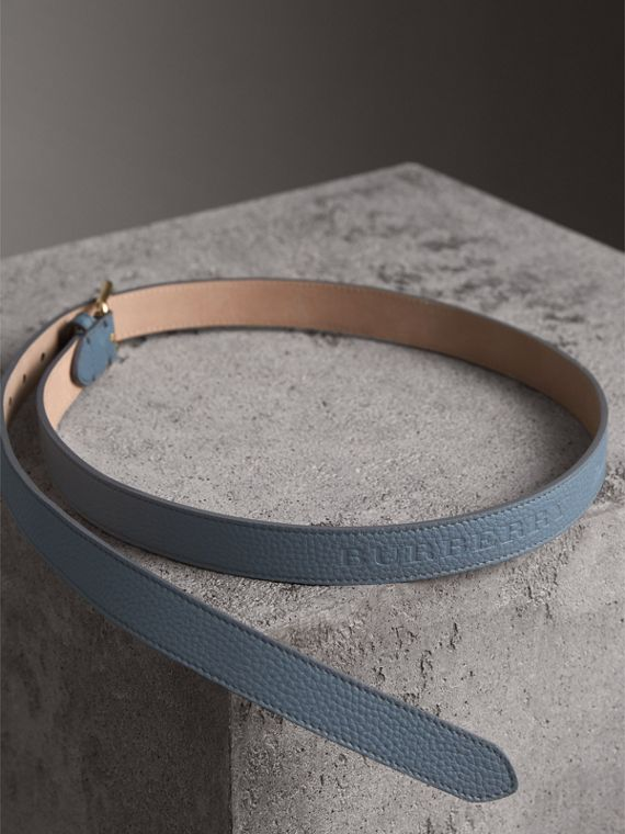 Embossed Leather Belt in Dusty Teal Blue - Women | Burberry - cell image 3