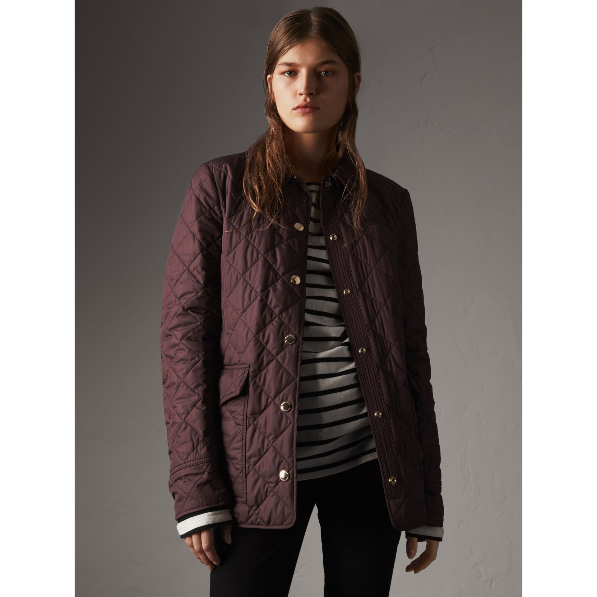 Check Detail Diamond Quilted Jacket in Burgundy - Women | Burberry - gallery image 6