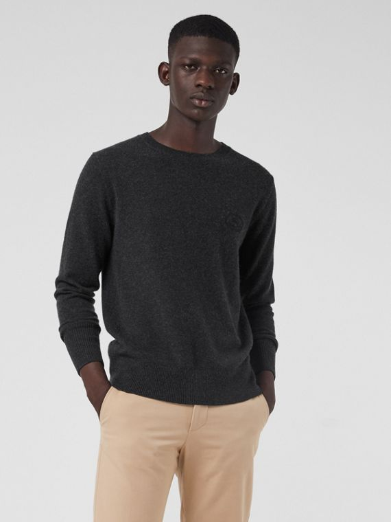 Embroidered Archive Logo Cashmere Sweater in Charcoal Melange