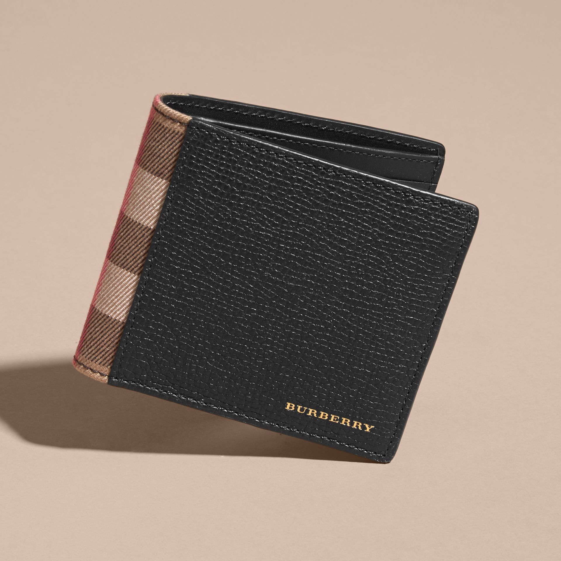 Leather and House Check International Bifold Wallet in Black | Burberry Australia - gallery image 6