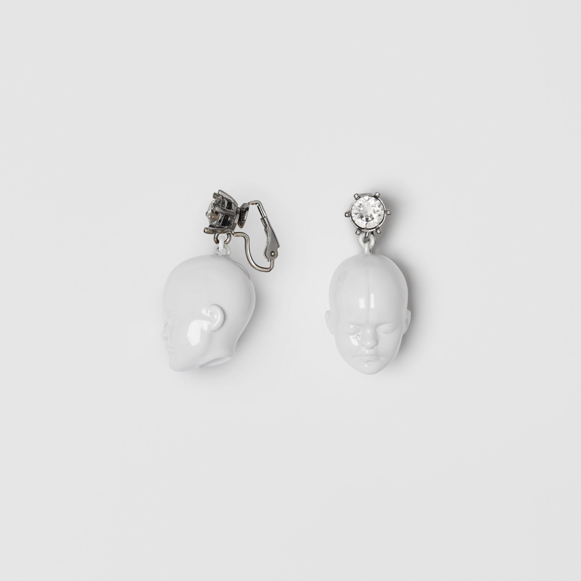 Crystal and Doll's Head Palladium-plated Earrings in White/palladium - Women | Burberry - gallery image 3