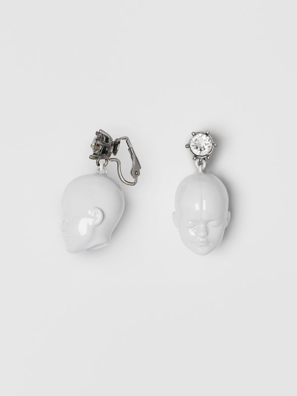 Crystal and Doll's Head Palladium-plated Earrings in White/palladium - Women | Burberry - cell image 3