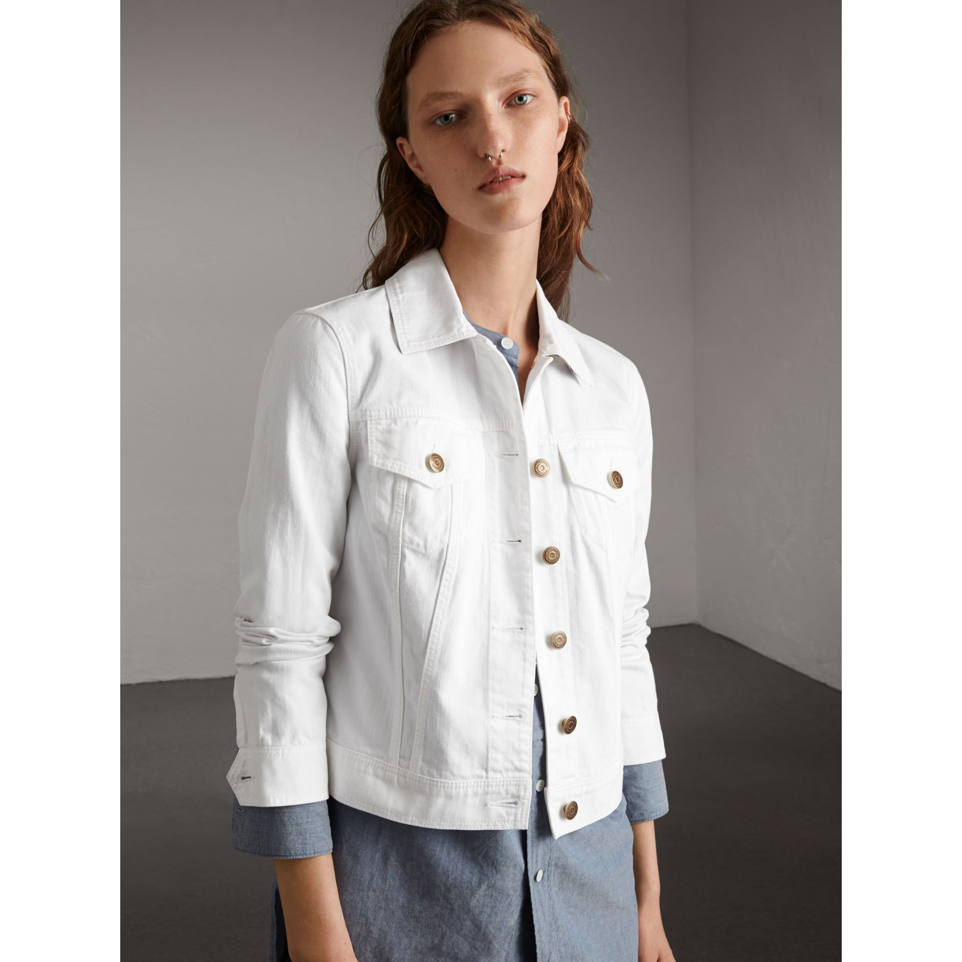 Check Detail Denim Jacket in White - Women | Burberry - gallery image 1