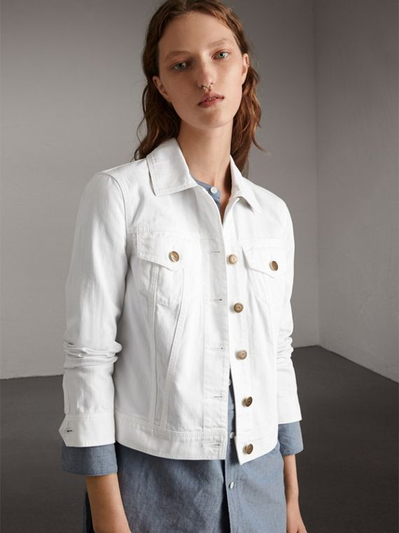 Check Detail Denim Jacket in White - Women | Burberry