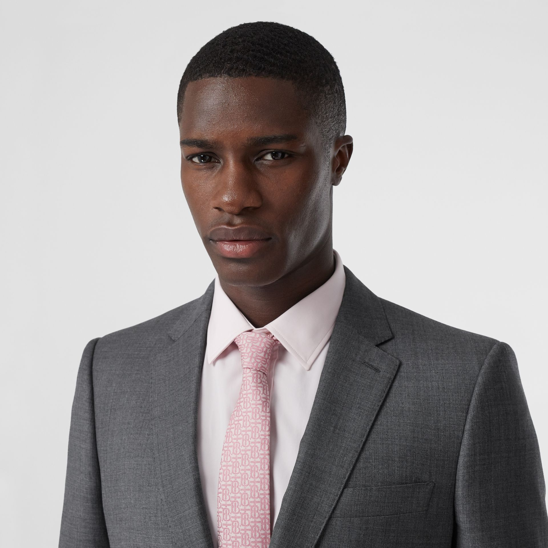 Classic Fit Sharkskin Wool Suit in Mid Grey Melange - Men | Burberry United Kingdom - gallery image 1