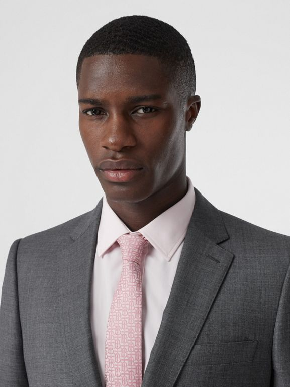 Classic Fit Sharkskin Wool Suit in Mid Grey Melange - Men | Burberry United Kingdom - cell image 1