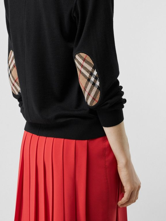Vintage Check Detail Merino Wool Cardigan in Black - Women | Burberry - cell image 1