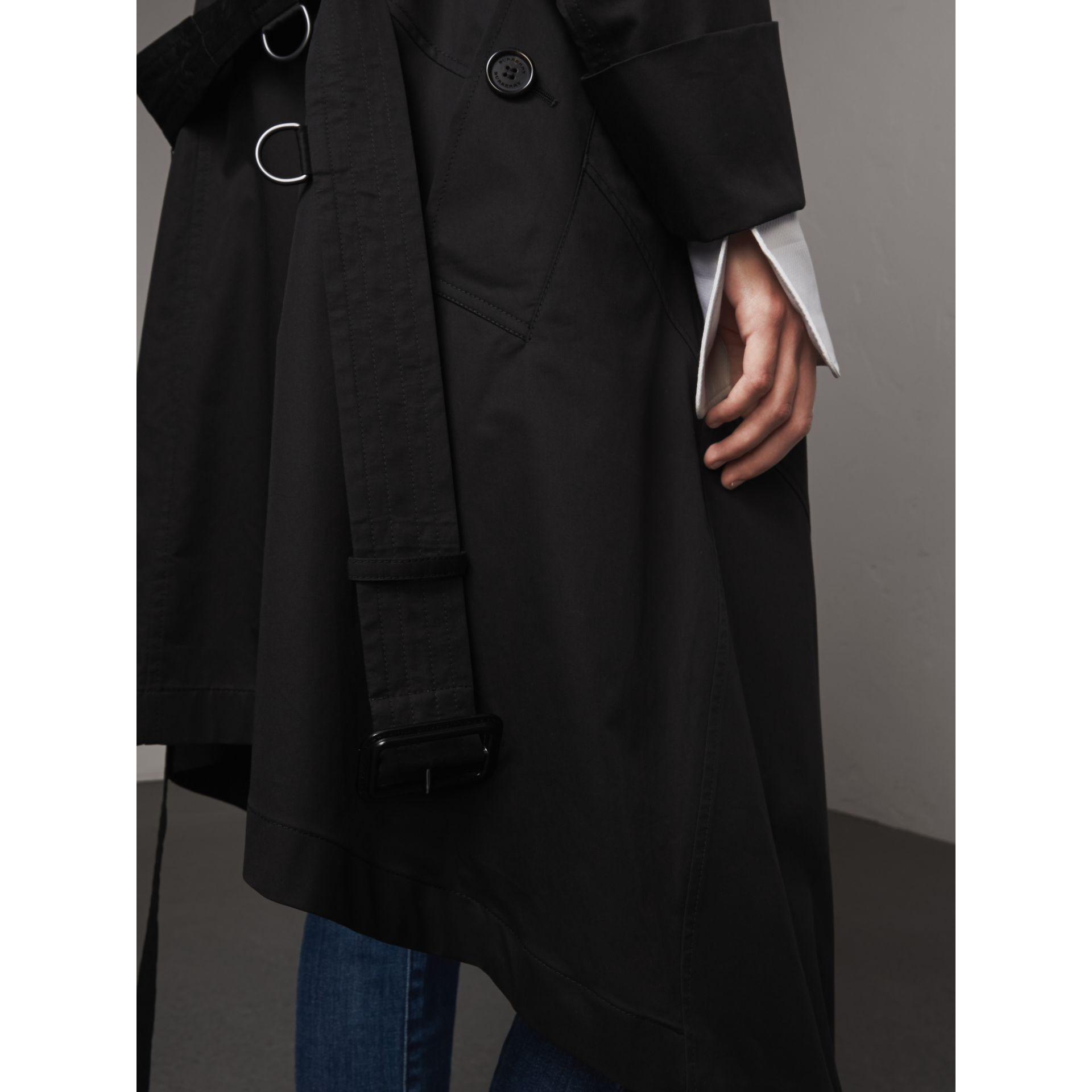 Cotton Asymmetric Trench Coat in Black - Women | Burberry Singapore - gallery image 2