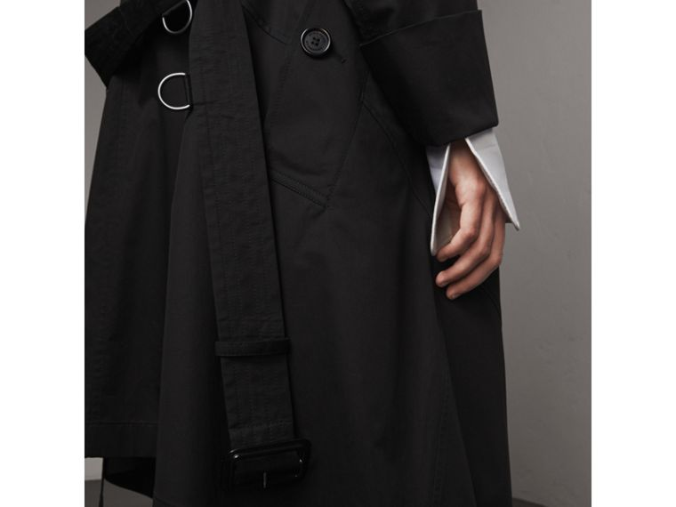 Cotton Asymmetric Trench Coat in Black - Women | Burberry Singapore - cell image 1