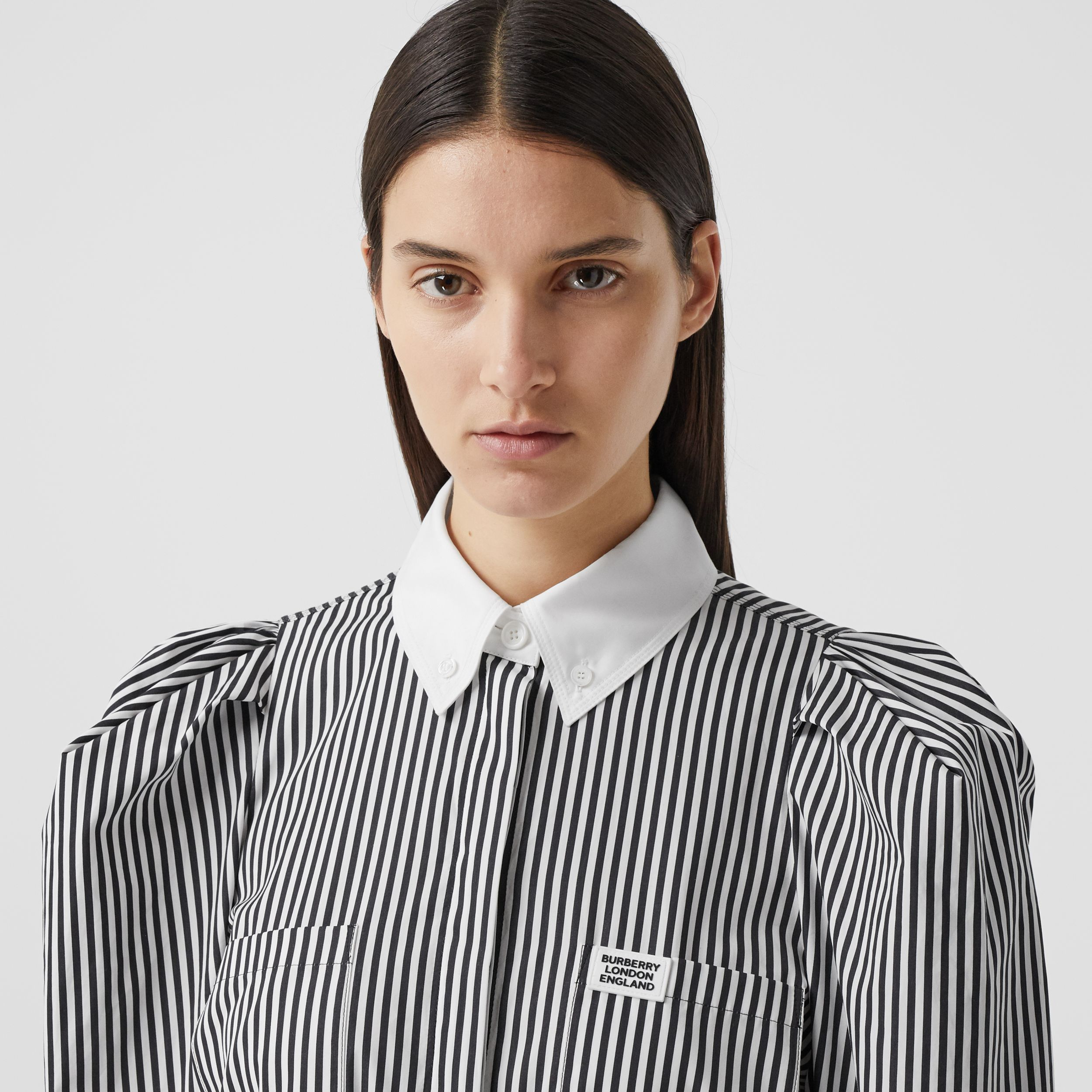 Logo Appliqué Striped Cotton Poplin Shirt Dress in Black - Women | Burberry - 2